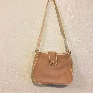 Etienne Aigner tweed jute leather shoulder purse